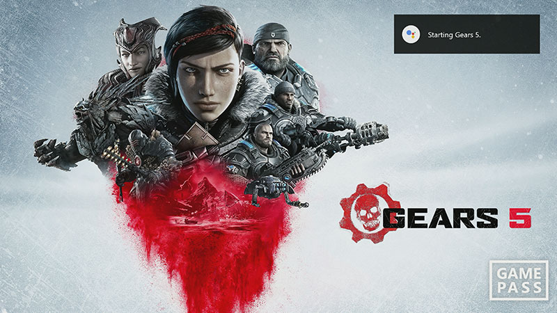 Screenshot showing Google Assistant starting Gears 5.