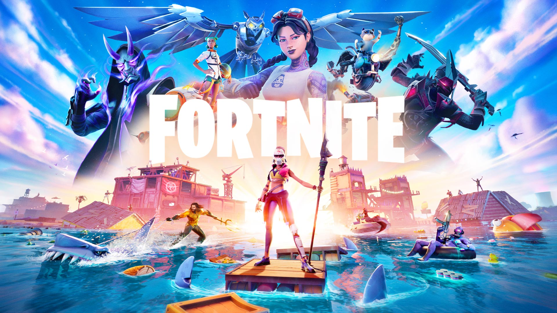 Fortnite, Aquaman and a player stand on the ocean, with a floating city in the background.