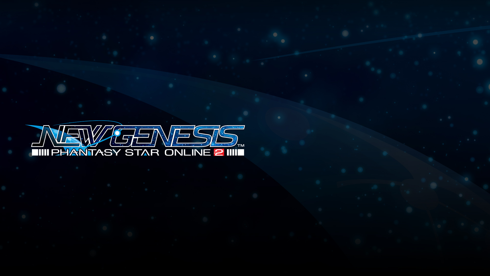 Phantasy Star Online 2 New Genesis logo on top of a starry background