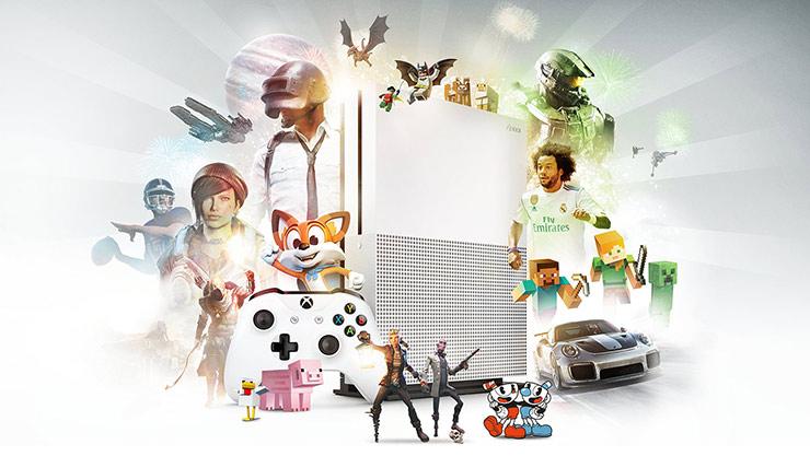 Xbox-játékgrafikák kollázsa az Xbox One S konzol és a vezeték nélküli Xbox-kontroller körül