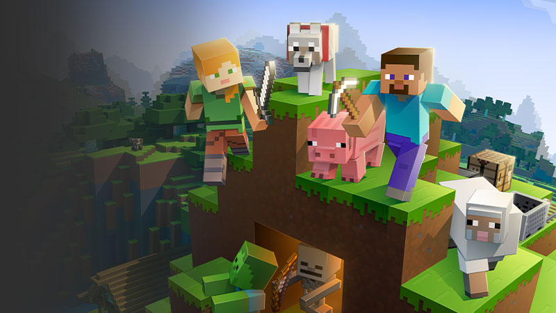 A colorful collage of characters adventuring and chasing each other through a Minecraft landscape.
