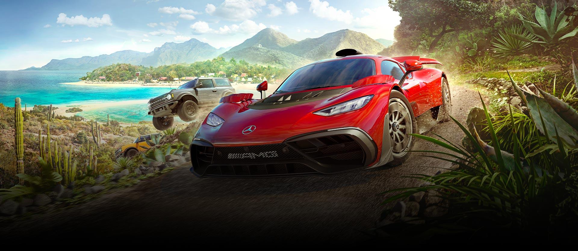 Varios autos de Forza Horizon 5 circulan rápidamente por un río rodeado de vegetación.