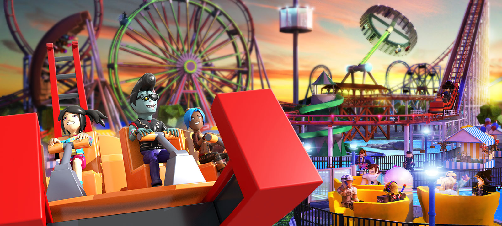 Characters from Roblox on a carnival ride with a rollercoaster and Ferris wheel in the background in Theme Park Tycoon