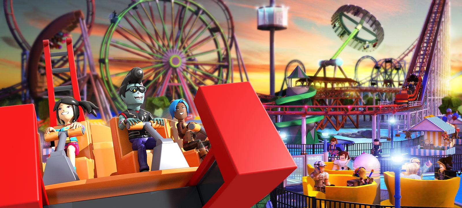 Personajes de Roblox en una atracción de carnaval, con una montaña rusa y una noria al fondo en Theme Park Tycoon