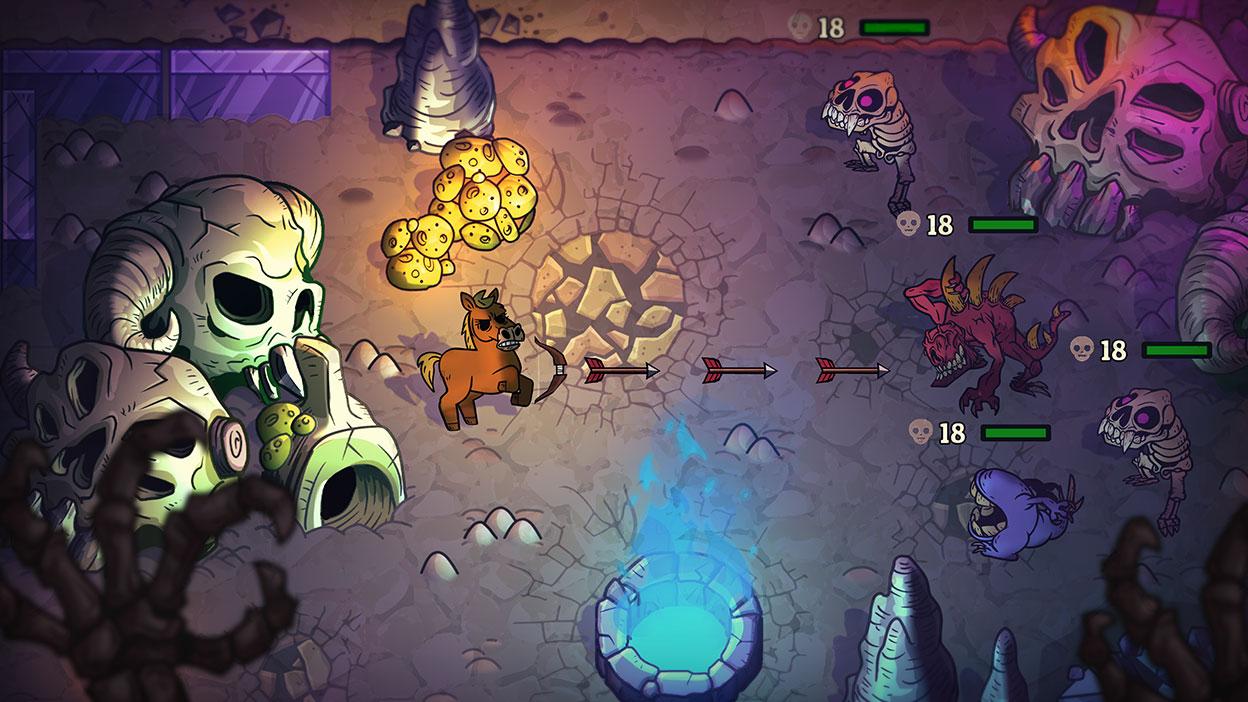 Een paard met pijl en boog schiet op monsters in een gevecht.