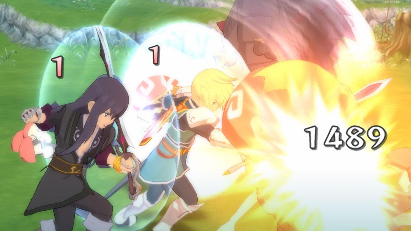 Zwei Charaktere greifen einen Gegner in einer Kampfphase an