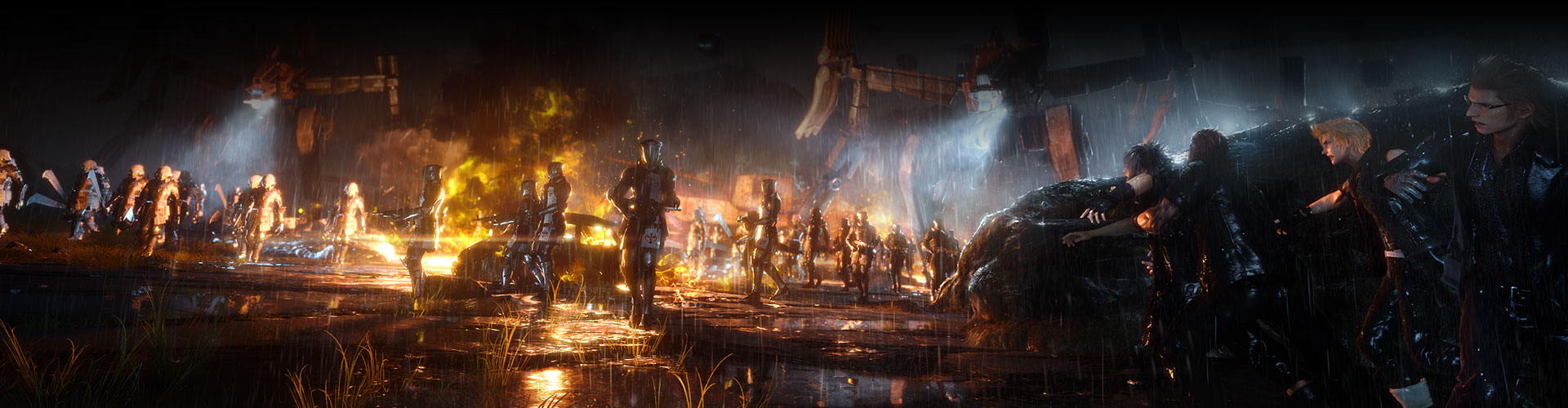 Des personnages se cachent derrière les lignes ennemies, sous la pluie.