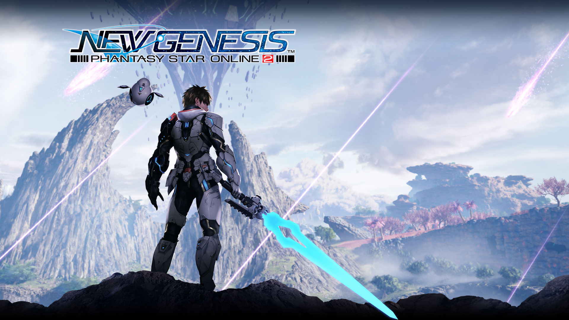 Phantasy Star Online 2 New Genesis logo, character holding a blue sword with a drone overlooking a valley