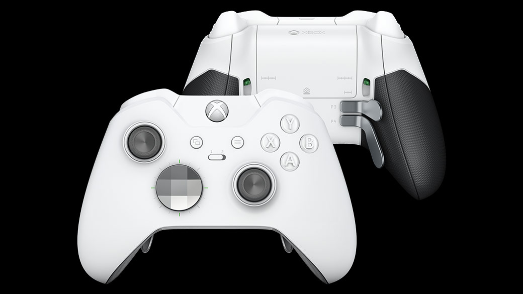 Front and back view of the White Xbox Wireless Elite Controller