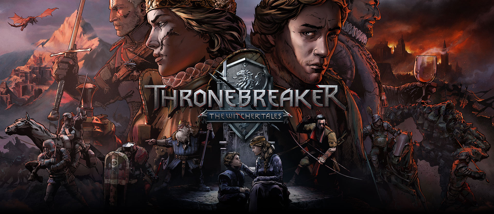 Thronebreaker: The Witcher Tales, comic book style image with two armies and their leaders on the sides