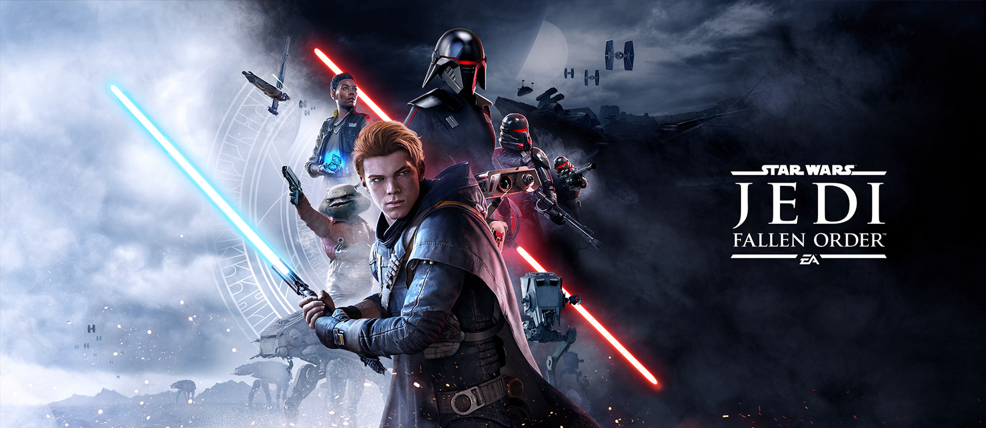 Star Wars Jedi: Fallen Order™, A light and dark image split by a red lightsaber and good and bad characters
