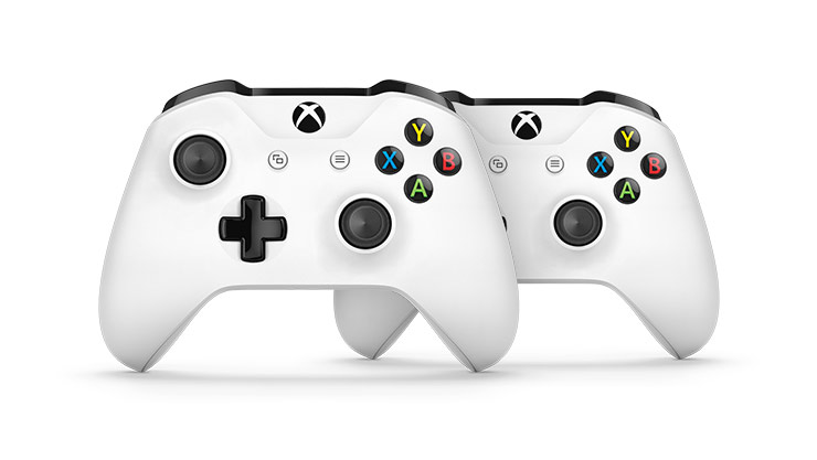 Front view of two white Xbox Wireless Controllers