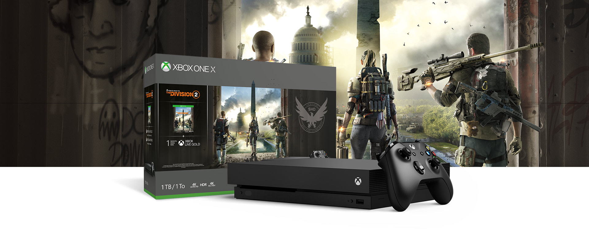 Xbox One X-konsol foran en fysisk bundle-æske med Tom Clancy's The Division 2-illustration
