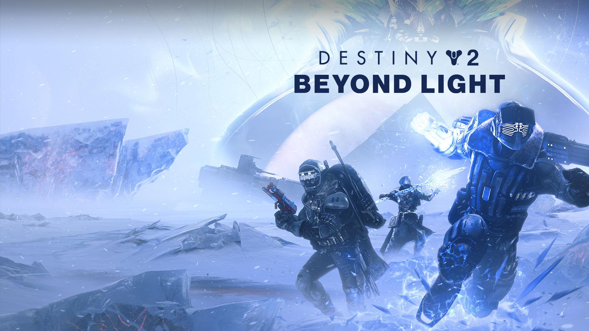 《命运 2:凌光之刻》,3 位守护者在冰原上使用冰影能力