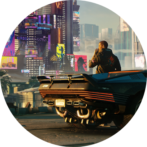 Cyberpunk 2077. V se inclina sobre um carro, apreciando a vista de Night City.