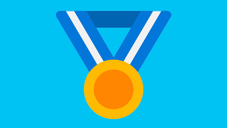 A gold medal hangs from a ribbon, the logo for Microsoft Rewards.