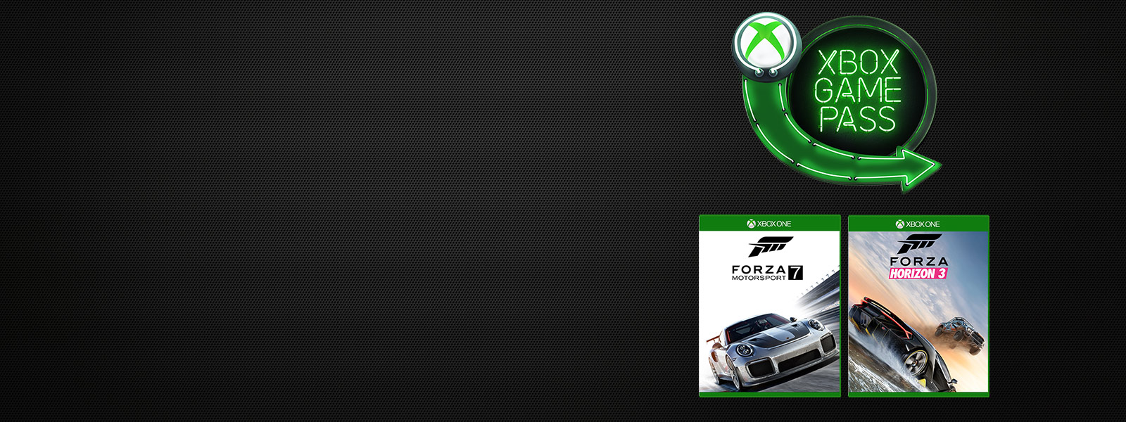 Forza Motorsport 7 and Forza Horizon 3 boxshots underneath Xbox Game Pass logo