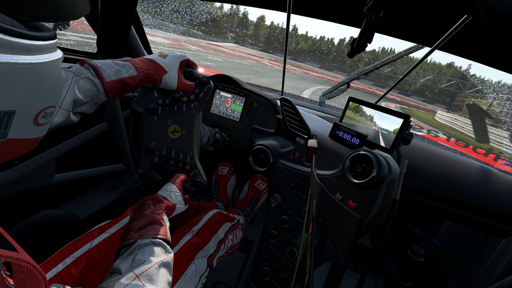 Inside view of racecar, driver turns right
