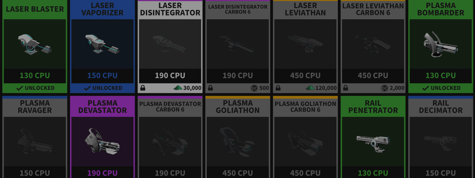 Inventory screen of weapons and components