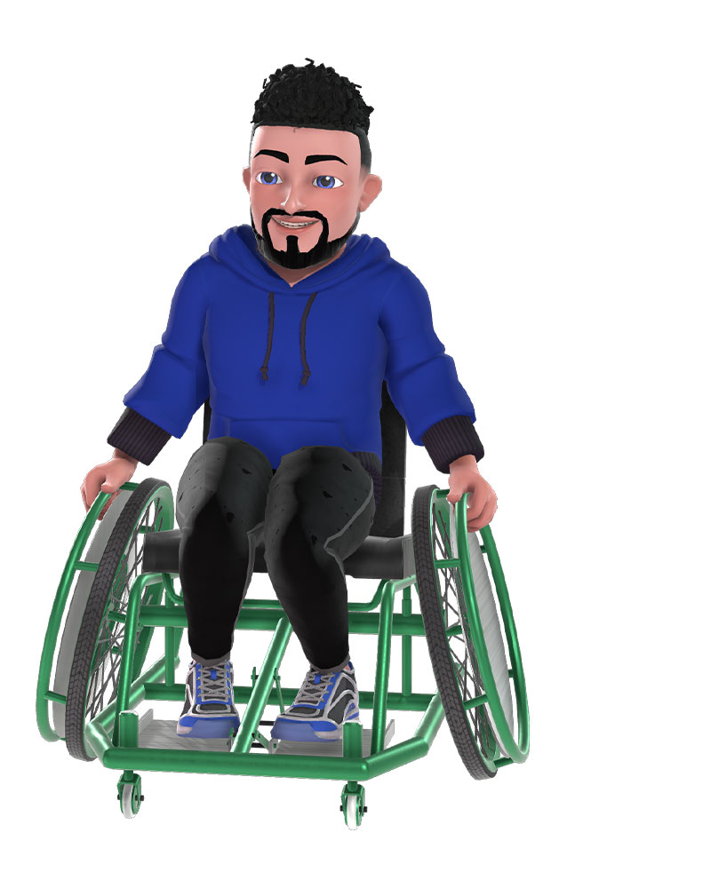 Xbox avatar of a white man with a goatee in a wheelchair