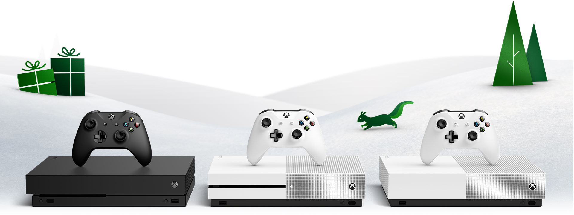 Xbox One X, Xbox One S, and Xbox One S-All-Digital Edition in front of a snowy backrgound with trees and animals