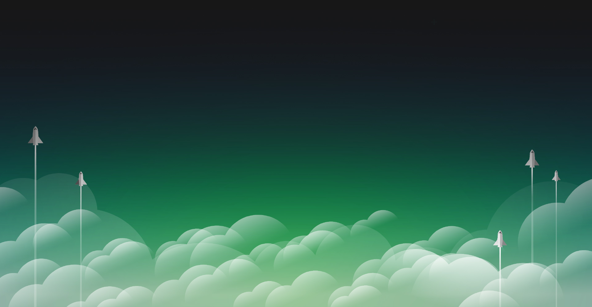 Several rocket ships taking flying skyward through green clouds