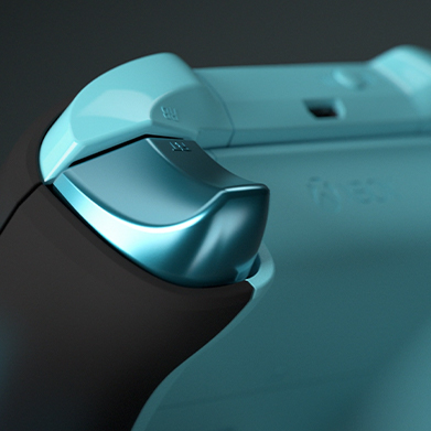 Xbox Design Lab controller featuring a metallic mineral blue trigger
