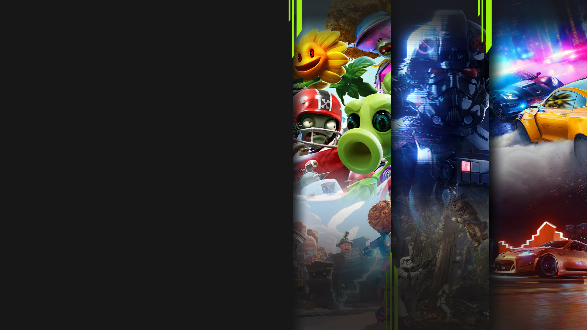 Game art from multiple EA games including Plants vs. Zombies: Battle for Neighborville, Star Wars Battlefront II, and Need for Speed Heat.