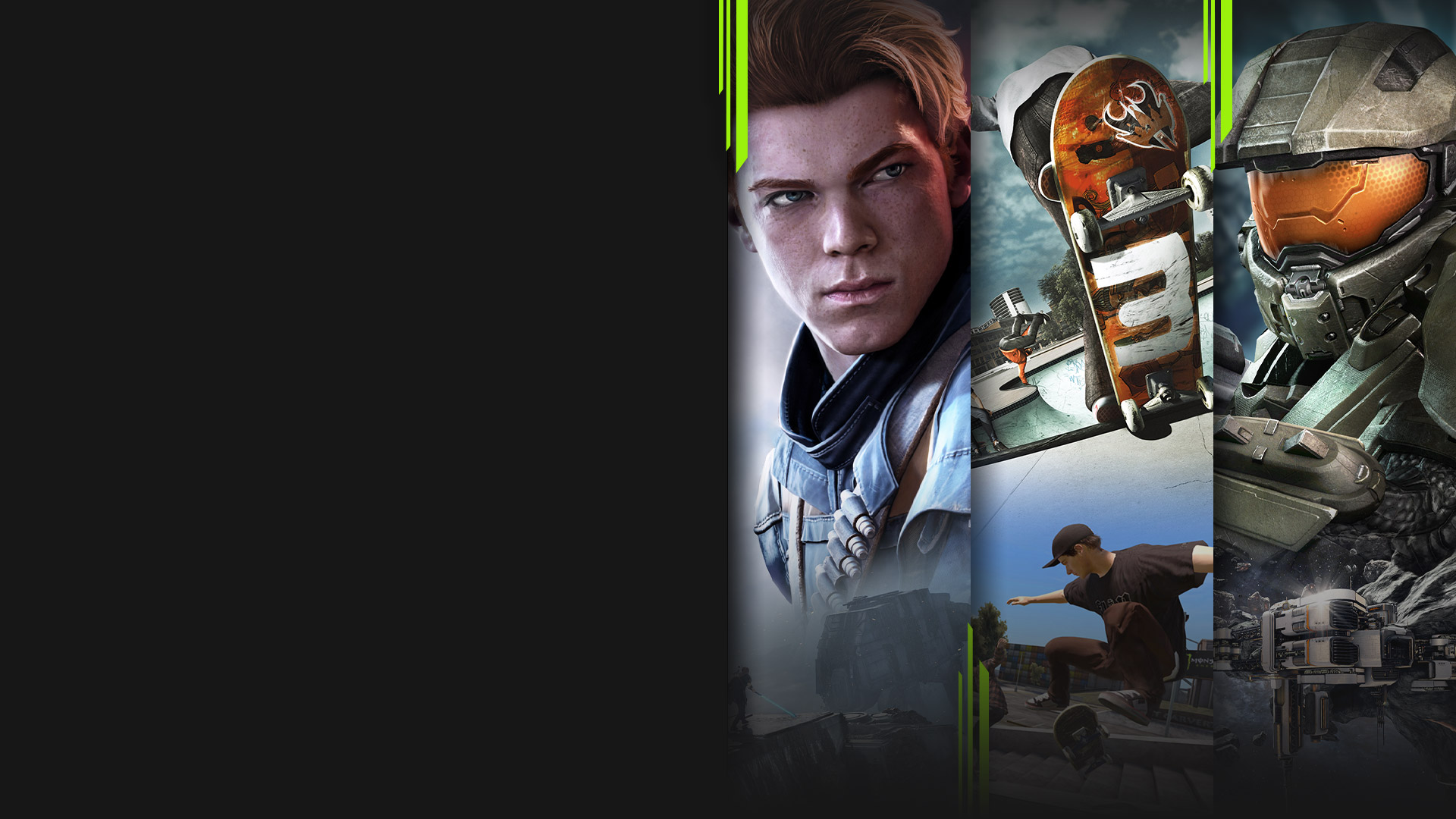 Game art from multiple games available with Xbox Game Pass including Star Wars Jedi: Fallen Order, Skate 3 and Halo 4.