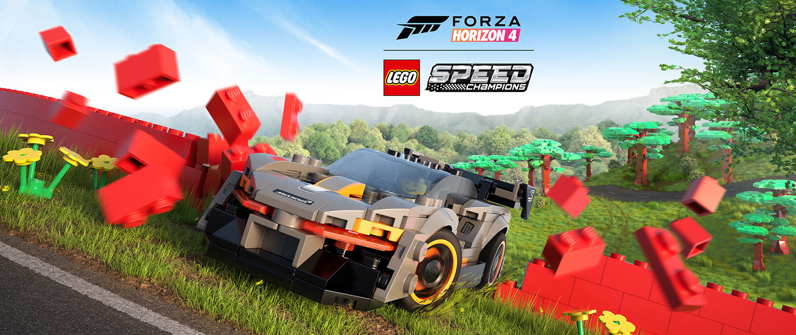 Forza Horizon 4 Lego speed champions, A LEGO McLaren drives through a bright red wall made of lego bricks