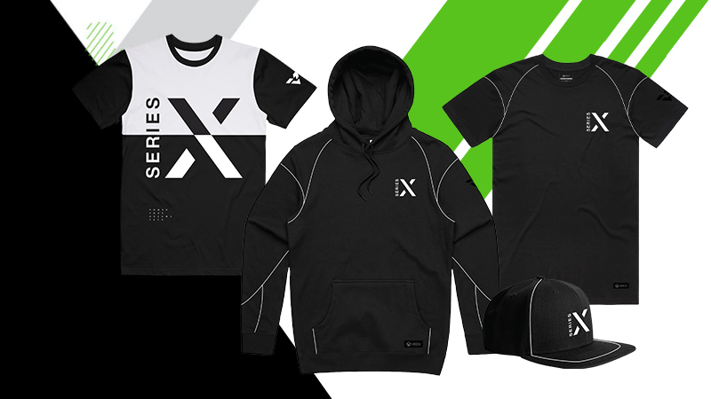 A collection of Xbox Gear, including a hoodie, two t-shirts, and a cap.