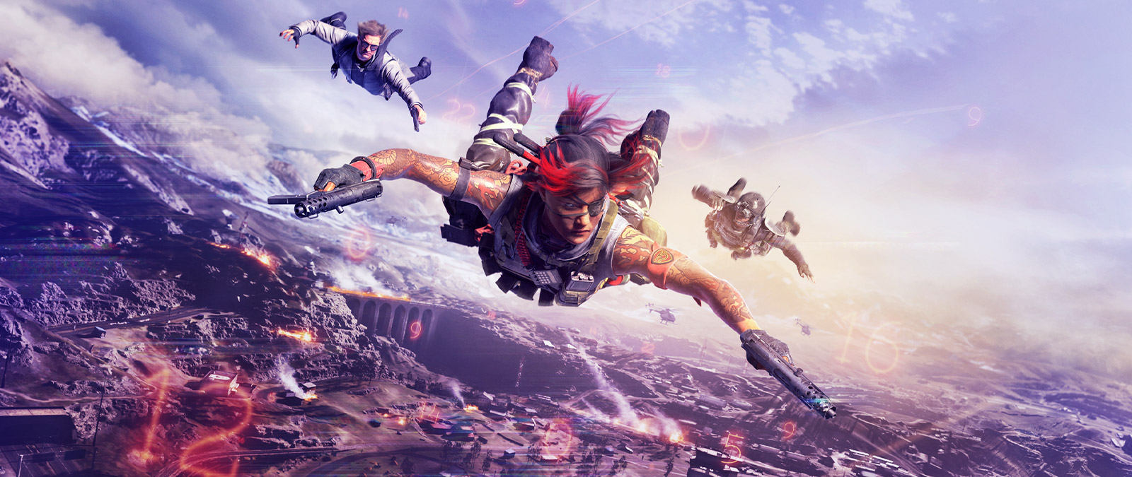Three characters dropping from the sky with weapons while a fight happens beneath them and there are red numbers floating around them