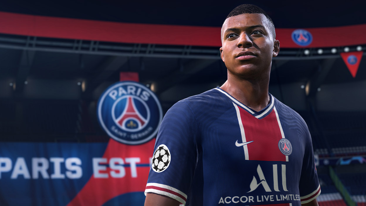 Mbappe in FIFA 21 in a stadium