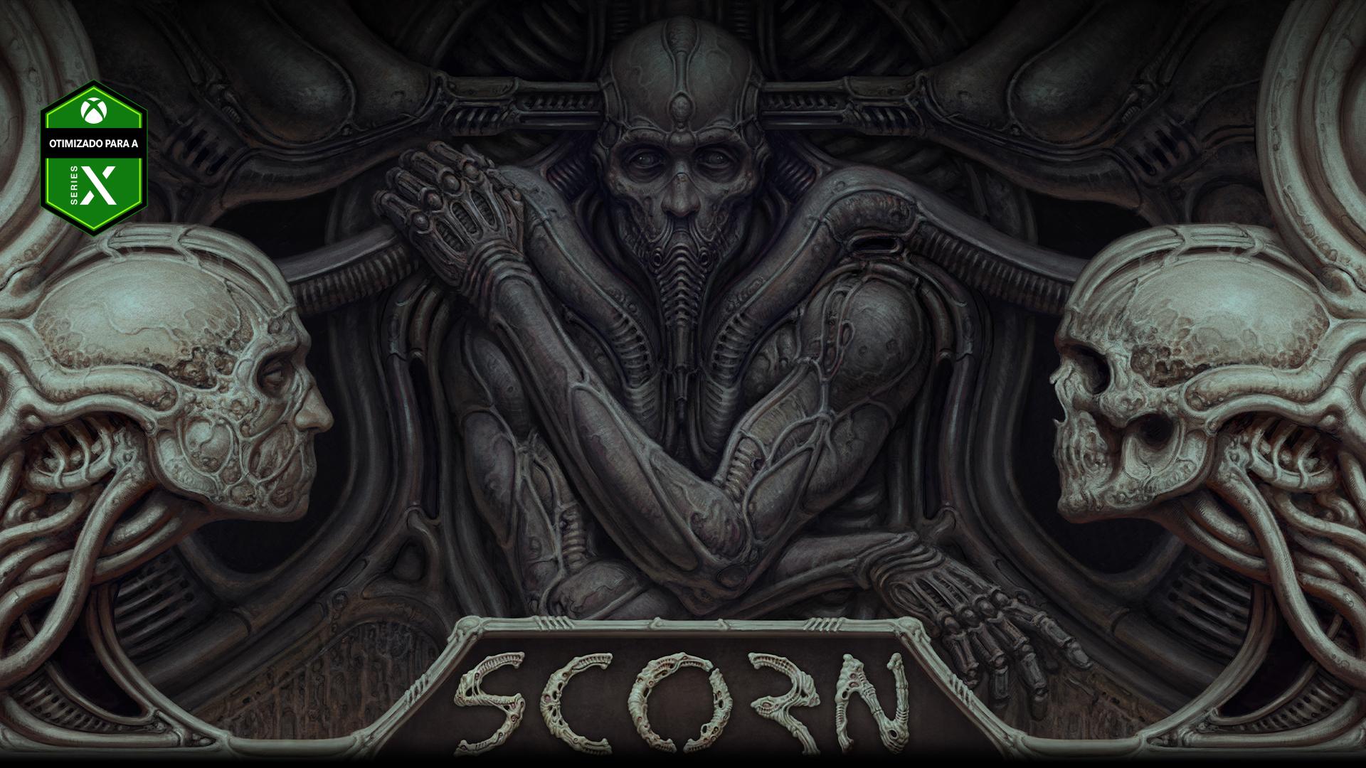 Personagem de Scorn embutido numa parede com duas cabeças de caveira.