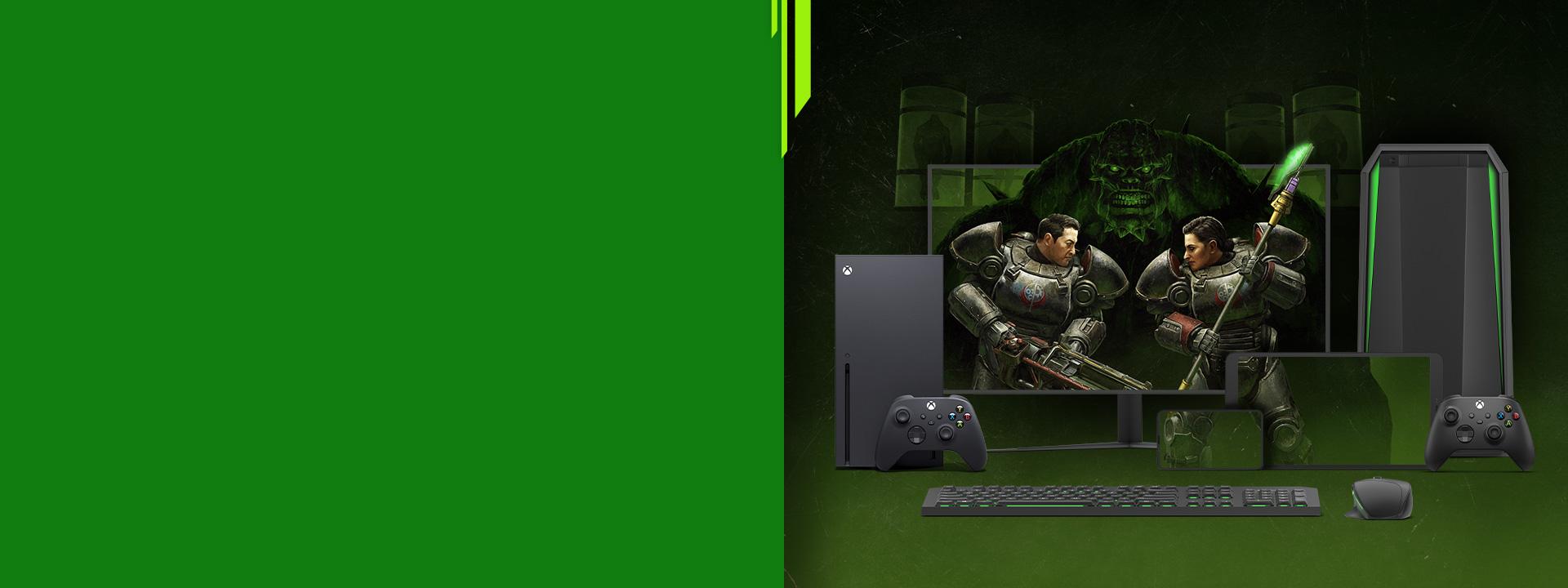 Viaceré inteligentné zariadenia s grafikou z hry Fallout 76 na obrazovke.