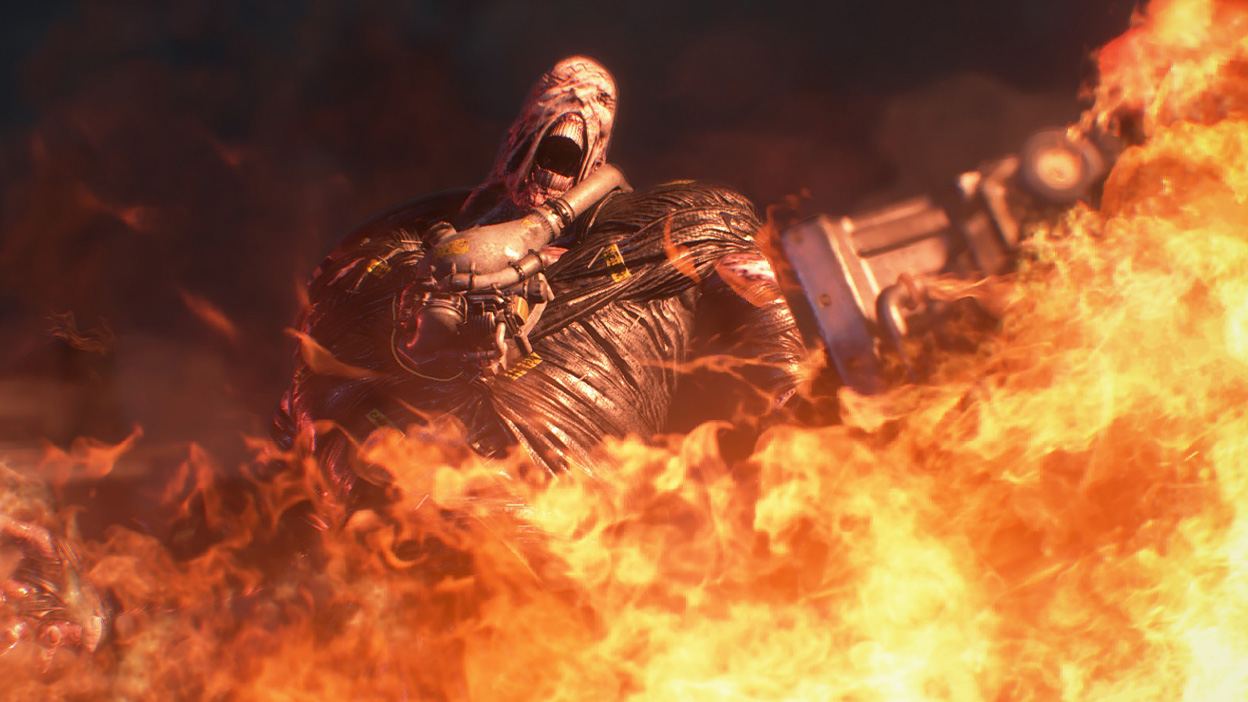 Nemesis screams as flames engulf him