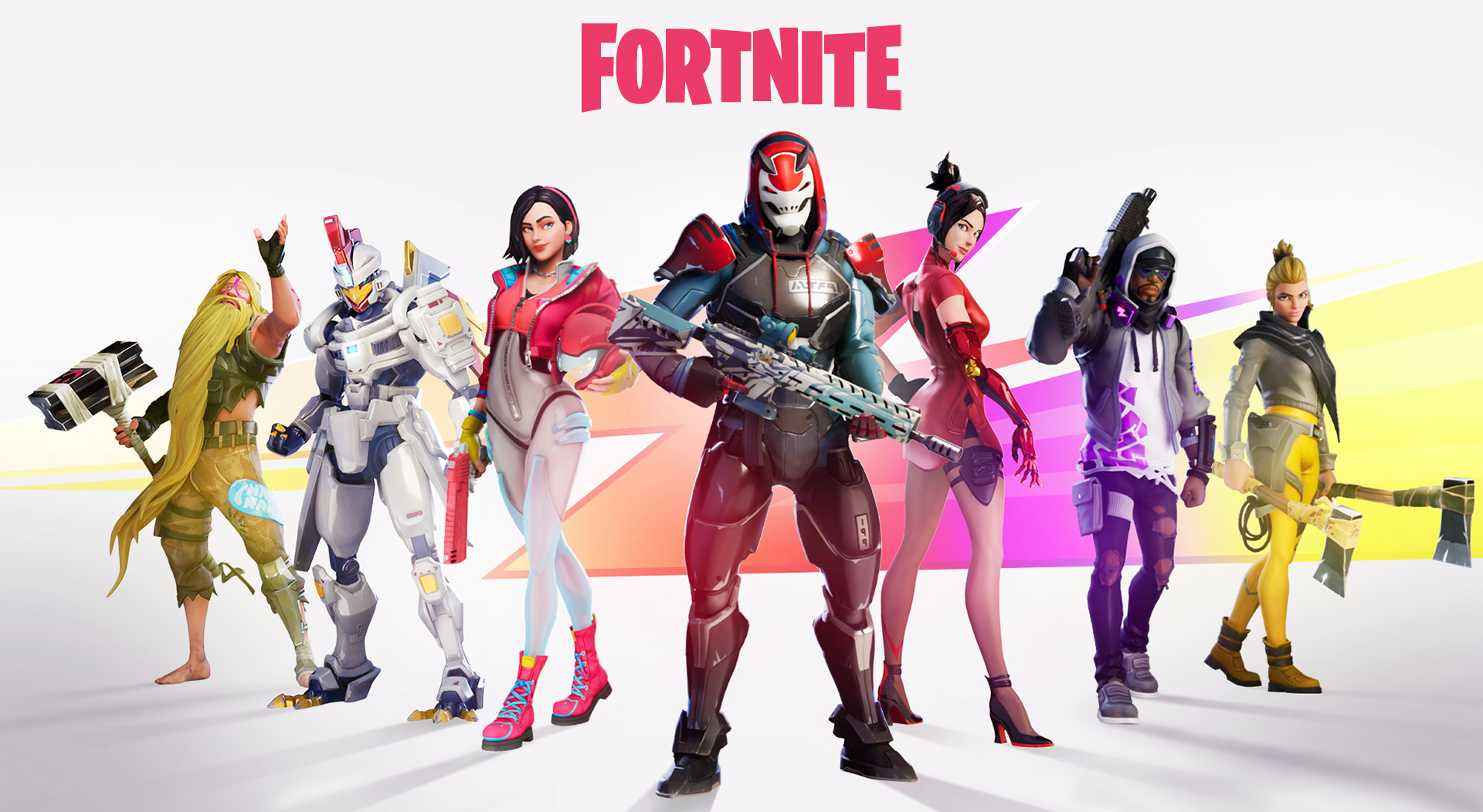 Diversas personagens do Fortnite dispostas em V