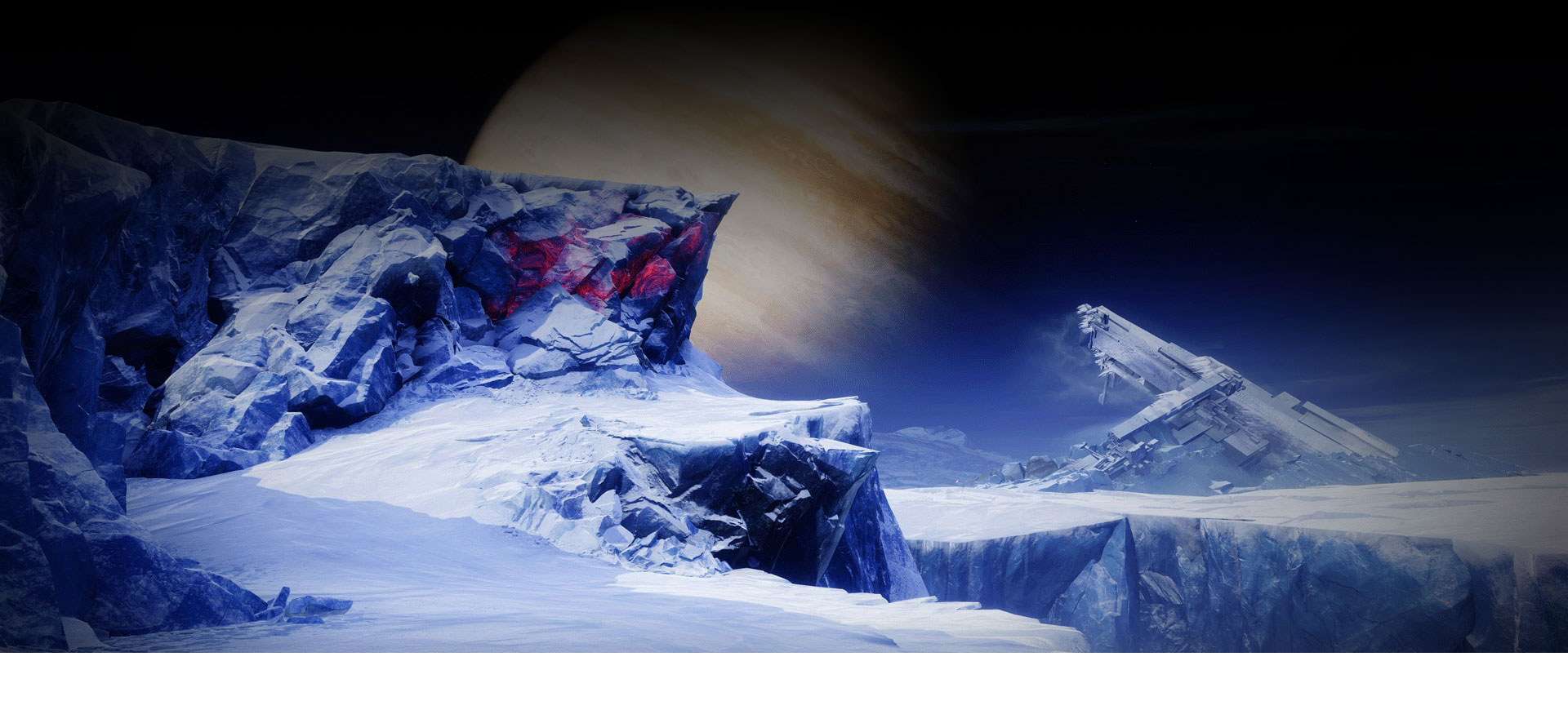 Icy cliffs with a large planet in the sky in the background