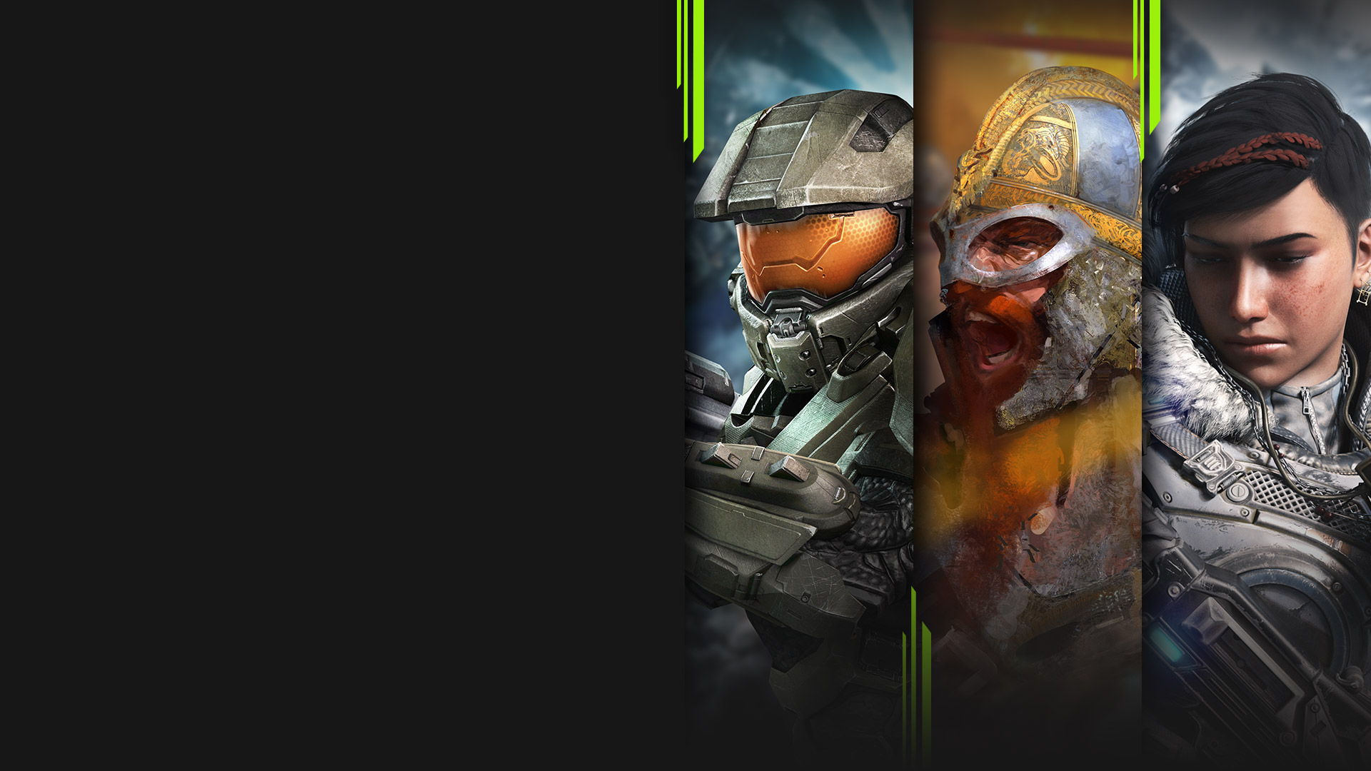 Game art from multiple Xbox Game Pass games including Halo 4, Age of Empires II: Definitive Edition, Gears 5, and Ori and the Will of the Wisps.
