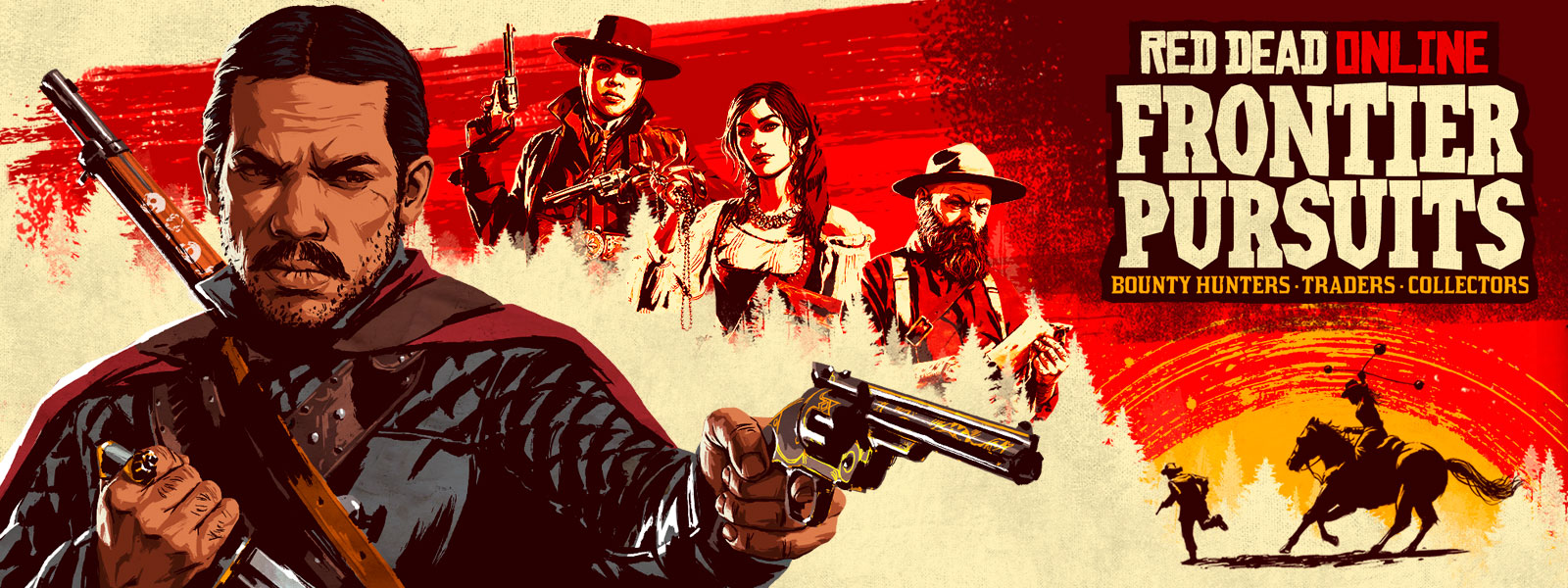 Red Dead Online Frontier Pursuits, Artistic rendering of a man pointing a pistol with 2 women behind him