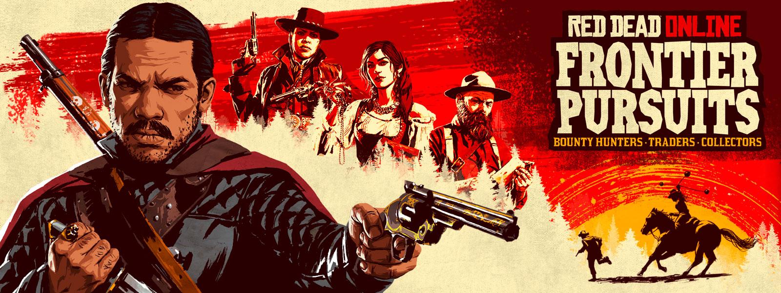 《荒野大镖客Online:边疆追寻者》,一个男人指枪的艺术绘制,身后还站着两个女人
