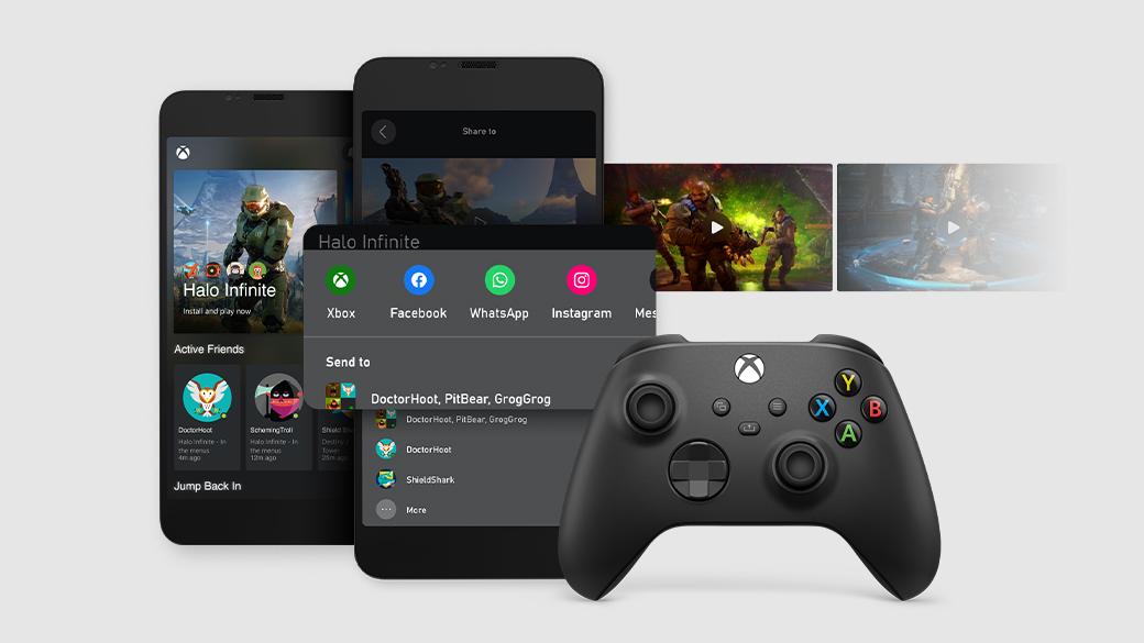 Zwei Handybildschirme mit Funktionen der Xbox-App (Beta) sowie Video-Miniaturansichten und einem Xbox-Controller.