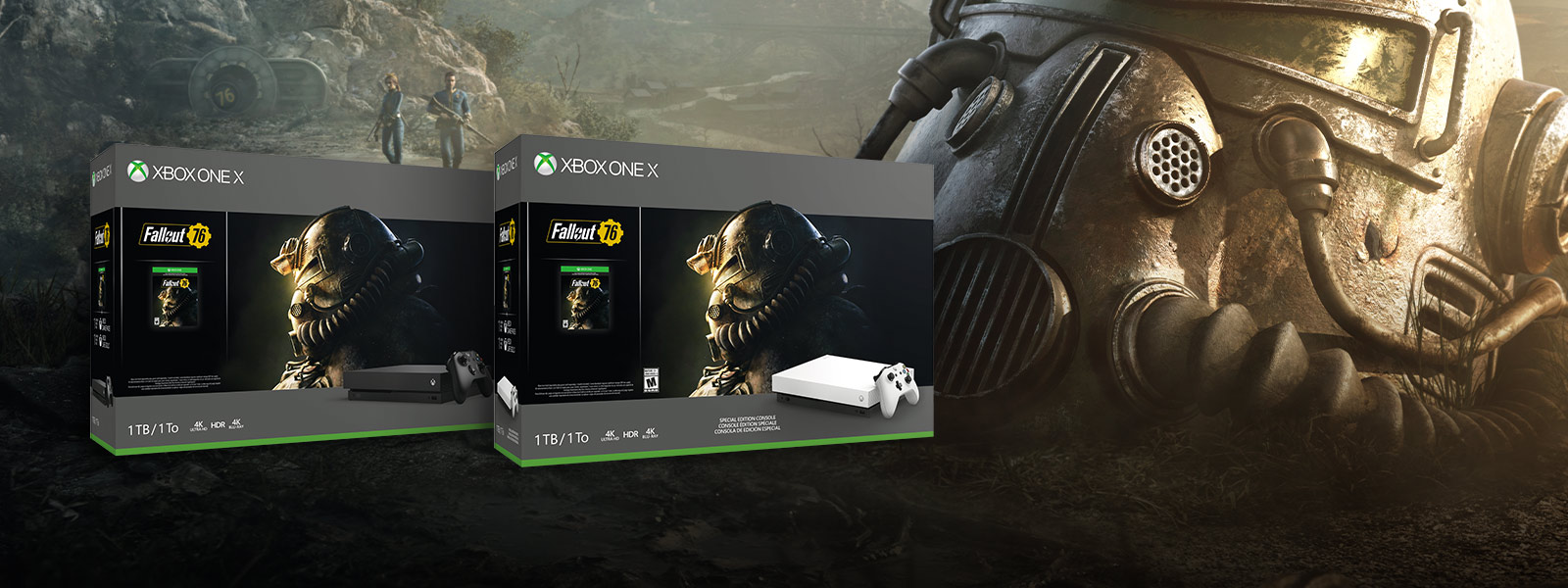 Xbox One X and Xbox One X Robot White Special Edition Fallout 76 bundle boxes