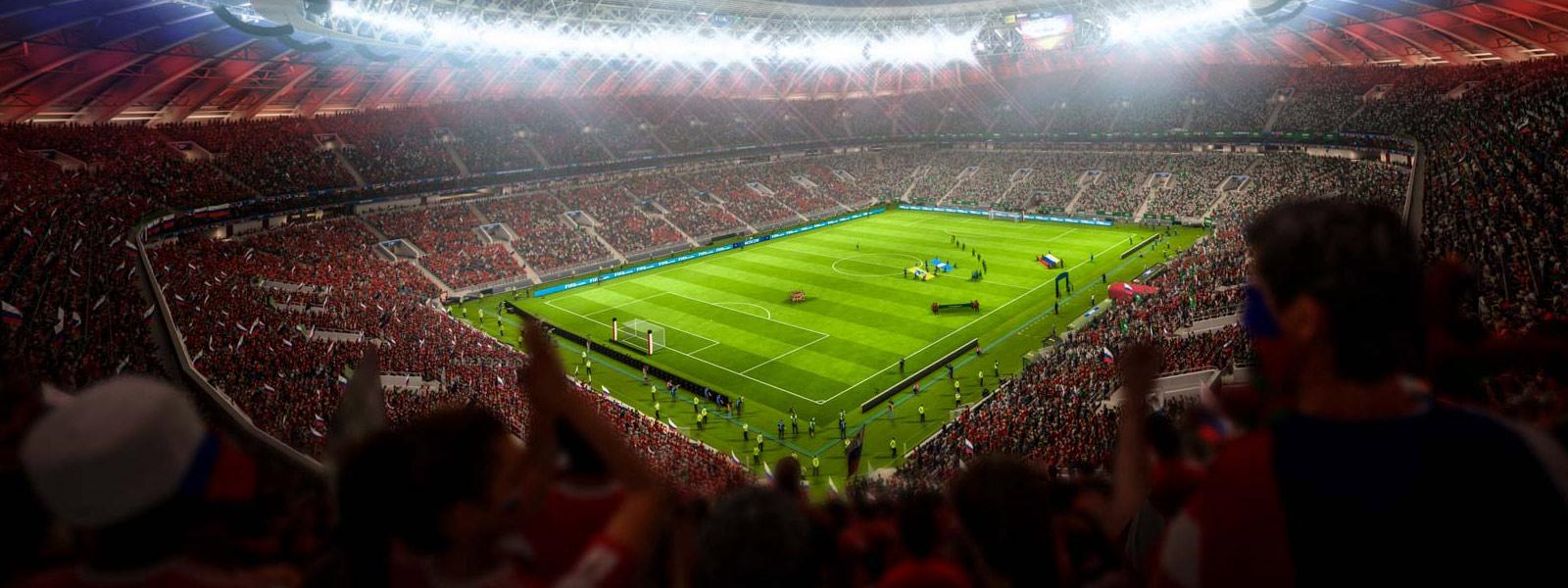 Vista de uma torcida lotada no estádio Luzhniki