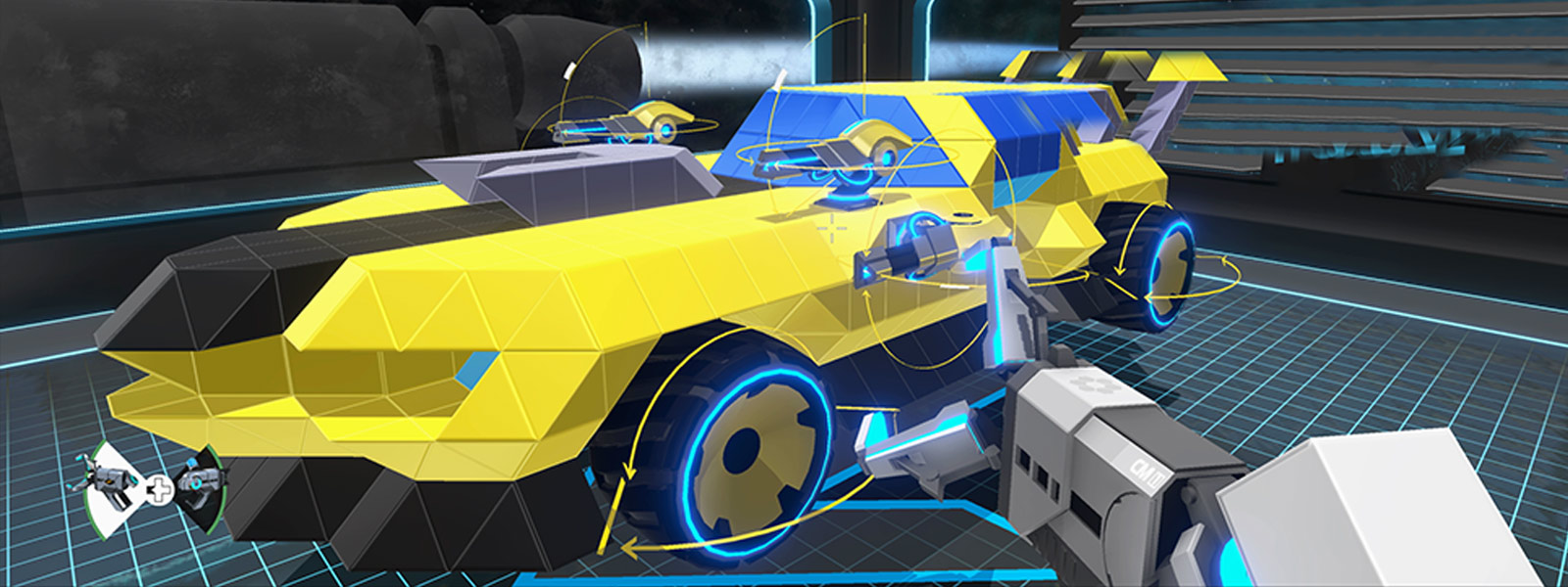 A vehicle with small turrets gets worked on by a claw grabbing tool