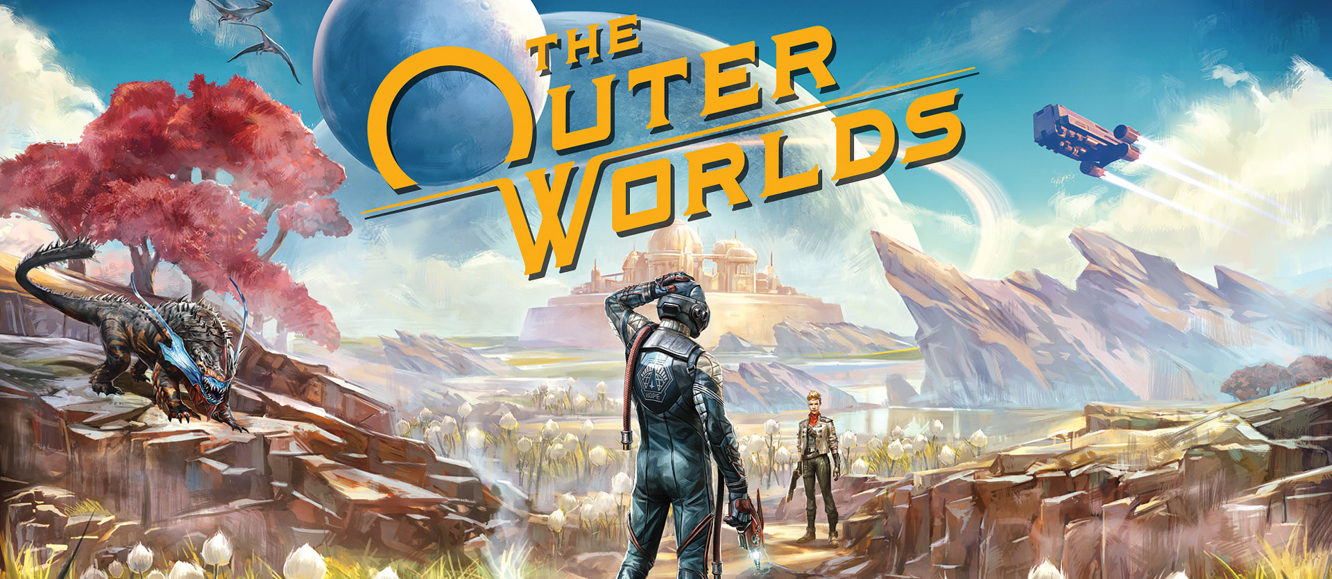 The Outer Worlds, A disoriented traveler looks at a woman in the distance on an alien planet