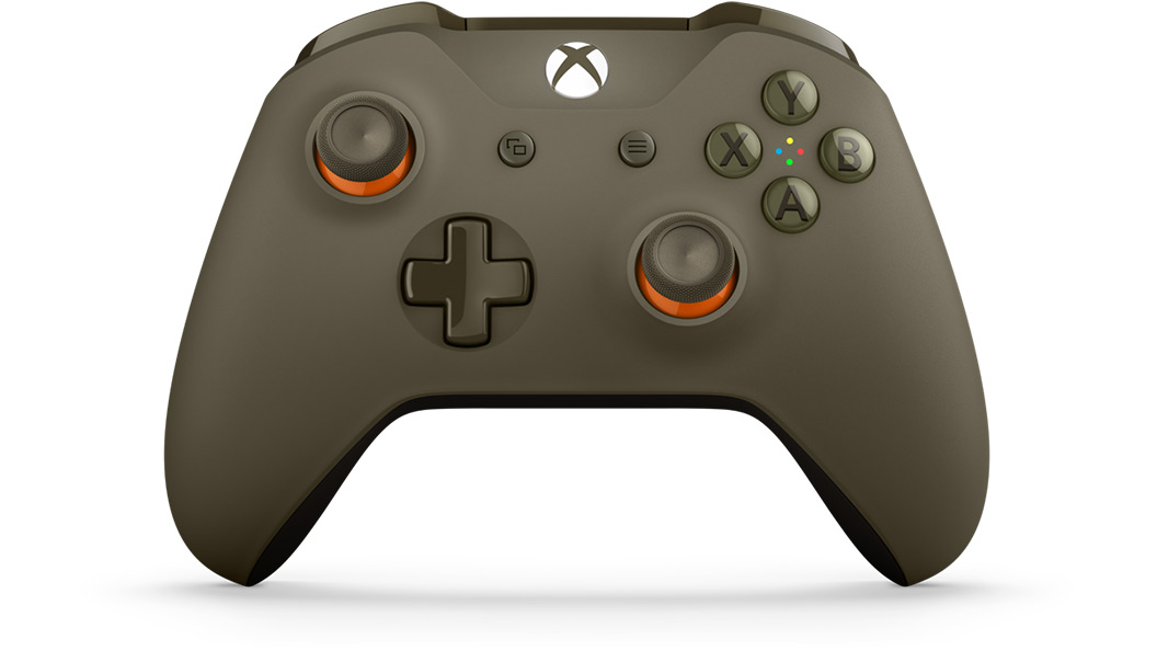 Front tilt view of Green Orange Controller
