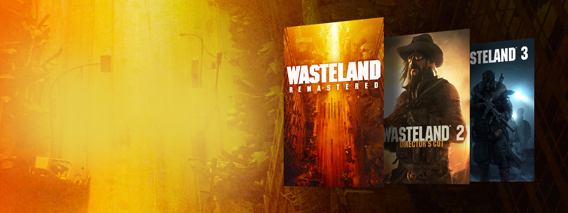 Boxshots of Wasteland Remastered, Wasteland 2 Director's Cut, and Wasteland 3. A background of an abandoned street with yellow and orange hues