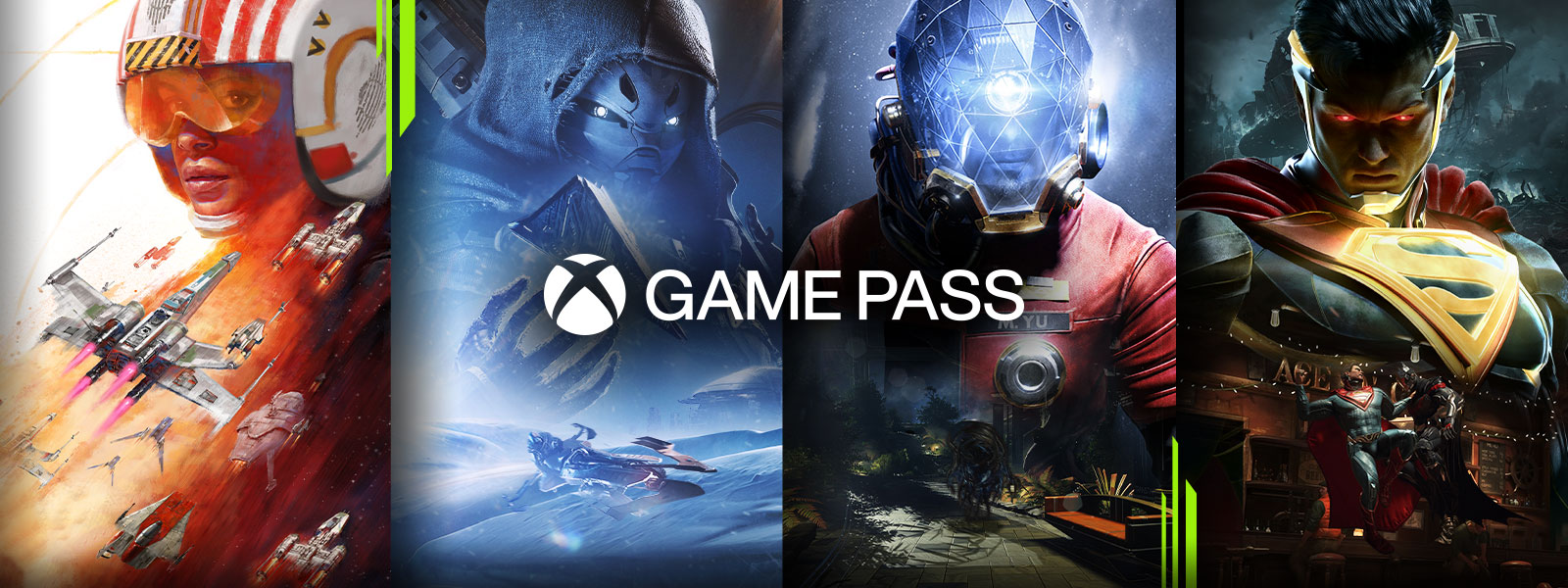 Xbox Game Pass logo over characters from games that are available through Xbox Game Pass Ultimate
