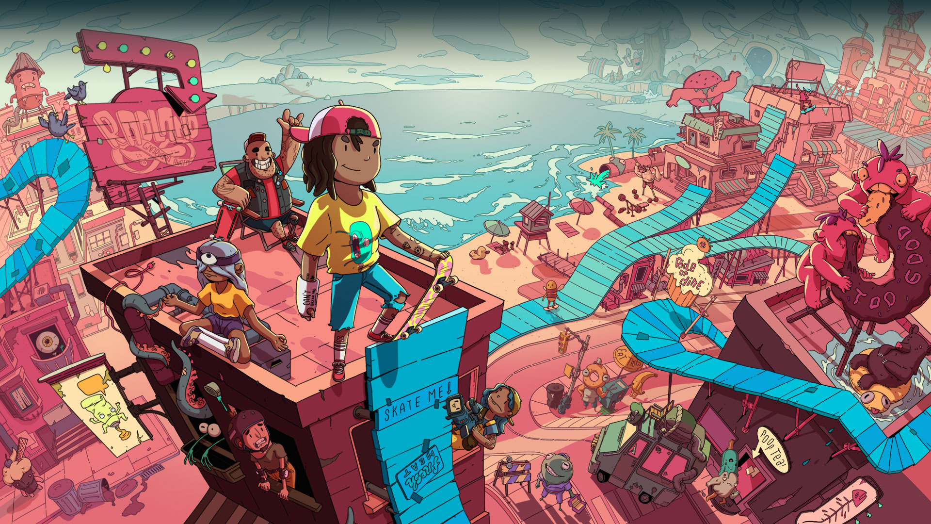 Several characters on top of a tall skate ramp with a town below.
